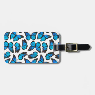 Blue Monarch Butterfly Pattern Luggage Tag