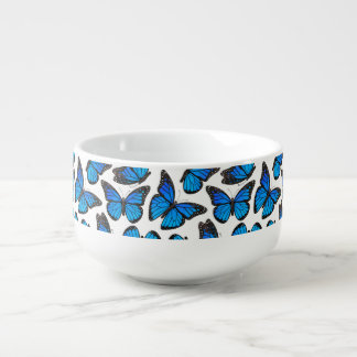 Blue Monarch Butterfly Pattern Soup Mug