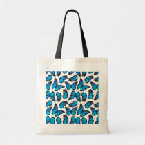 Blue Monarch Butterfly Pattern Tote Bag