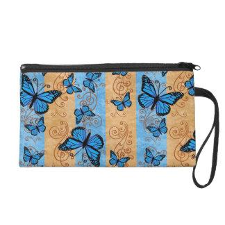 Blue Monarch Butterfly Wristlette Bag Wristlet Clutch