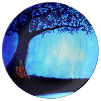 """""""Blue Monk"""" 10.75"""" Porcelain Plate"""