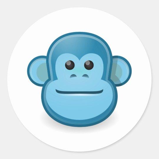 Blue Monkey Classic Round Sticker