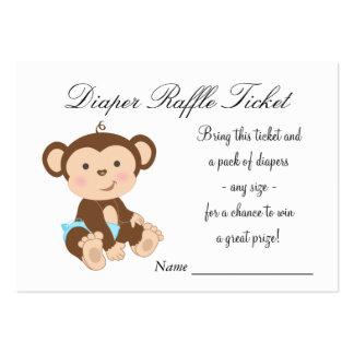 Blue Monkey Diaper Raffle Tickets Large Business Card