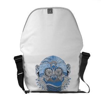 Blue Monkey Face Art Design Courier Bag