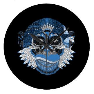 Blue Monkey Face Art Design Large Clock