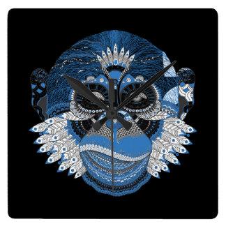 Blue Monkey Face Art Design Square Wall Clock