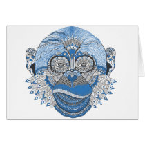 Blue Monkey Face with Pattern and Feathers