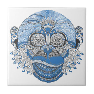 Blue Monkey Face with Pattern and Feathers Ceramic Tile