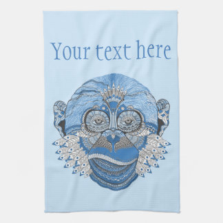 Blue Monkey Face with Pattern and Feathers Hand Towel