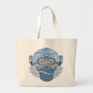 Blue Monkey Face with Pattern and Feathers Large Tote Bag