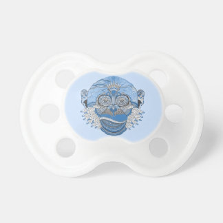 Blue Monkey Face with Pattern and Feathers BooginHead Pacifier