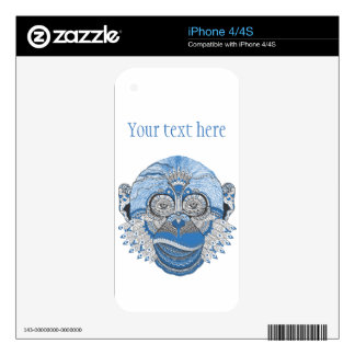 Blue Monkey Face with Pattern and Feathers iPhone 4 Skins