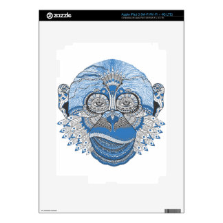 Blue Monkey Face with Pattern and Feathers Skin For iPad 3