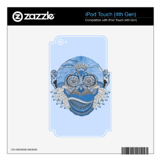 Blue Monkey Face with Pattern and Feathers Skin For iPod Touch 4G