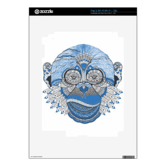Blue Monkey Face with Pattern and Feathers Skin For The iPad 2
