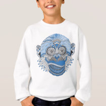 Blue Monkey Face with Pattern and Feathers Sweatshirt