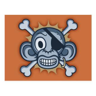 Blue Monkey Pirate Postcard