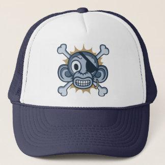 Blue Monkey Pirate Trucker Hat