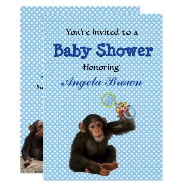 Professional Business Blue Monkey See, Monkey Do Custom Baby Shower Card