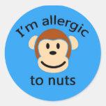 Blue monkey sticker allergy alert round stickers