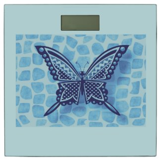 BLUE MONO BUTTERFLY 116 X1 WITH PATTERN BATHROOM SCALE