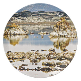 BLUE MONO LAKE WITH TUFA ROCK FORMATIONS MELAMINE PLATE