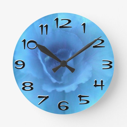 Blue Monochrome Cabbage Wall Clock Large Numbers Zazzle