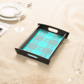 Blue Monochrome Squares and Circles Design Serving Tray