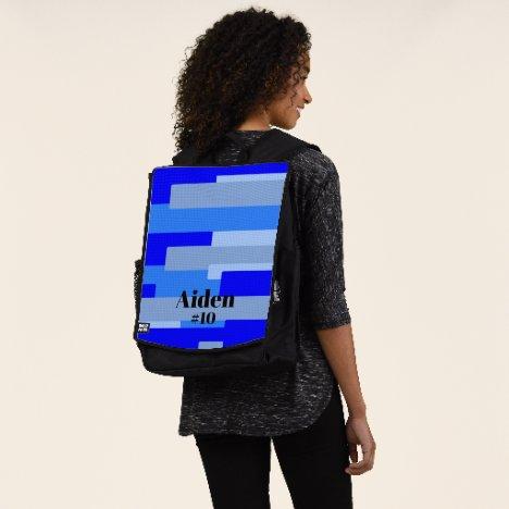 Blue Monogram and Jersey Number Sport Backpack