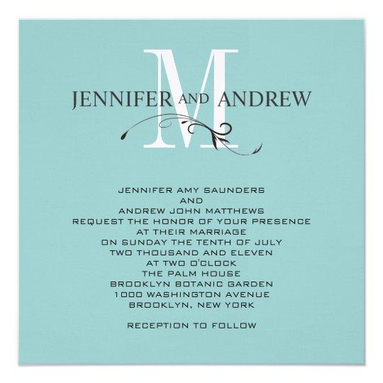 Blue Monogram and Names Wedding Invitation