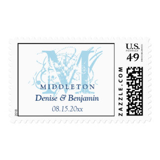 Blue monogram antique chic custom wedding postage