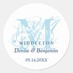 Blue monogram antique chic label wedding favor round stickers