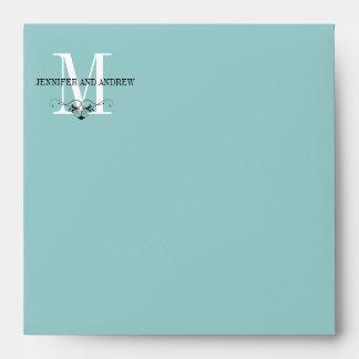 Blue Monogram Chandelier Square Envelope