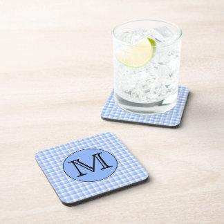 Blue Monogram Check Pattern. Custom Letter. Beverage Coaster