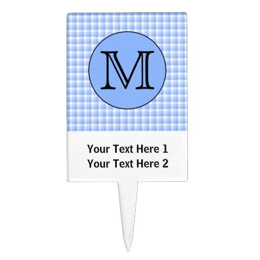 blue monogram check pattern custom letter cake topper With three letter monogram checks