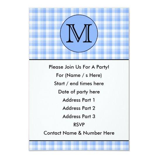 Blue Monogram Check Pattern. Custom Letter. Card