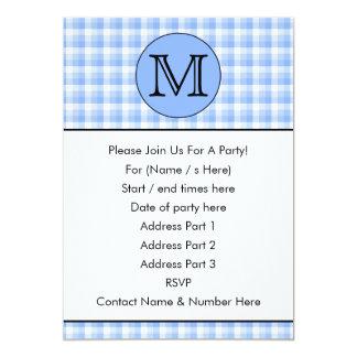 Blue Monogram Check Pattern. Custom Letter. 5x7 Paper Invitation Card
