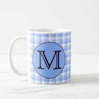 Blue Monogram Check Pattern. Custom Letter. Mug