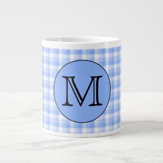 Blue Monogram Check Pattern. Custom Letter. Jumbo Mug