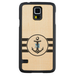 Blue Monogram   Classic Anchor Carved Maple Galaxy S5 Case