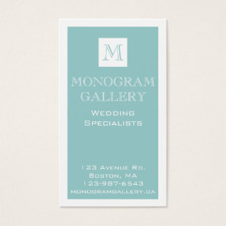 Blue Monogram Customizable Business Cards