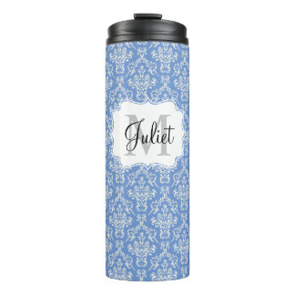 Blue Monogram Damask Pattern Thermal Tumbler