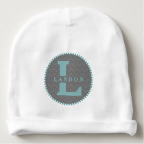 Blue Monogram   Gray Chevron Baby Beanie