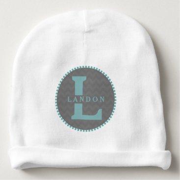 Toddler & Baby themed Blue Monogram   Gray Chevron Baby Beanie