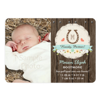 Blue Monogram Horseshoe Western Birth Announcement