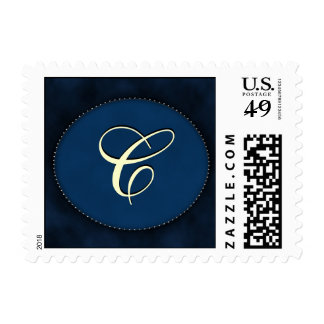 Blue monogram in Oval - white font initial C Postage Stamp