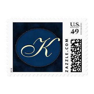 Blue monogram in Oval - white font - Letter K Postage Stamps