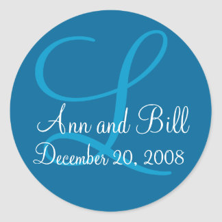Blue Monogram L, First Names and Date Seal Classic Round Sticker