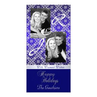 Blue Monogram Lace Holiday Ribbon Photo Card