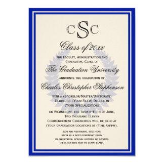 Blue Monogram Laurel Classic College Graduation 4.5x6.25 Paper Invitation Card